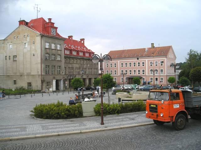 Poštovní náměstí v centru Aše