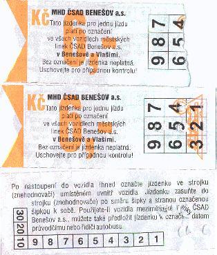 Plnocenné jízdenky MHD v hodnotě 6,- Kč zakoupené v předprodeji v květnu 2004