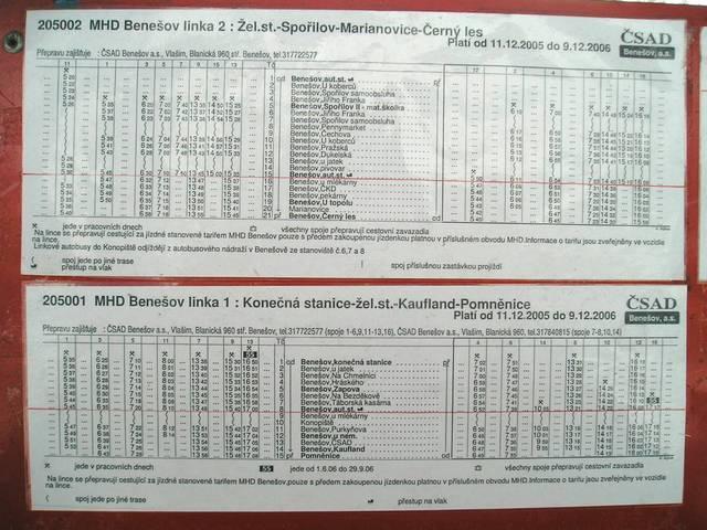 Jízdní řády linek MHD 1 a 2