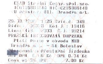 Plnocenná jízdenka MHD Brandýs nad Labem - Stará Boleslav
