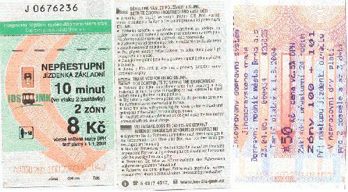 Jízdenky Integrovaného dopravního systému Jihomoravského kraje z let 2004 a 2005