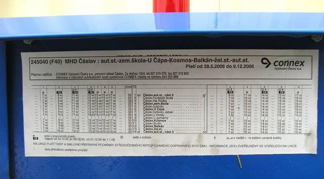 Jízdní řád linky 245 040 MHD Čáslav